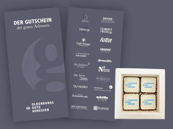 Geschenkgutschein mit 4er-Schachtel handgefertigter Pralinen